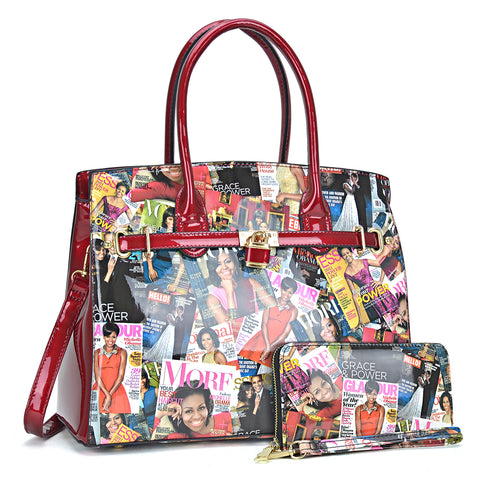 Michelle Obama Magazine Cover Printed Patent Leather Medium Satchel with padlock deco with Matching wallet