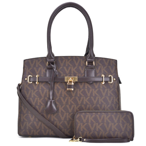 Monogram Imprint Faux Leather Medium Satchel with Matching Wallet