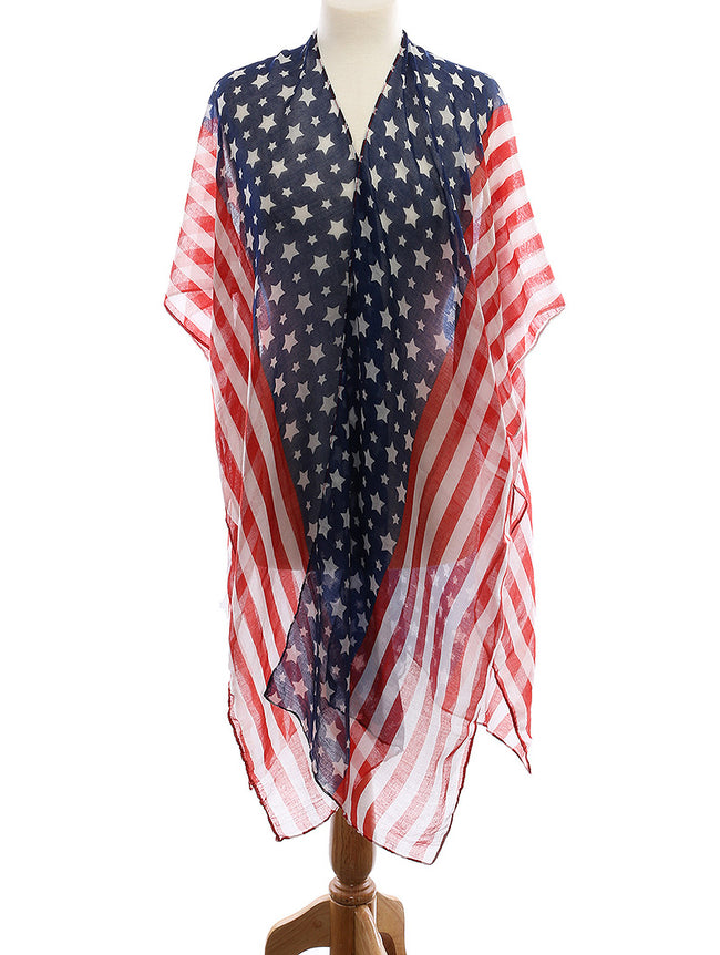 Mulit Color American Flag Print Sheer Coverup Fashion Poncho - HAF222070MLT
