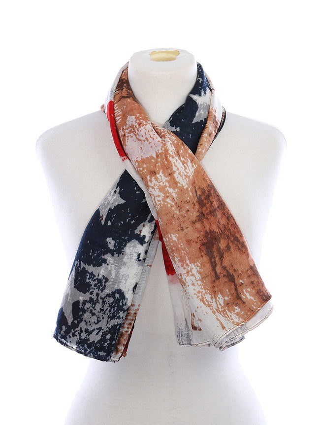 Mulit Color Distressed American Flag Print Sheer Fashion Scarf - HAF213003NMLT