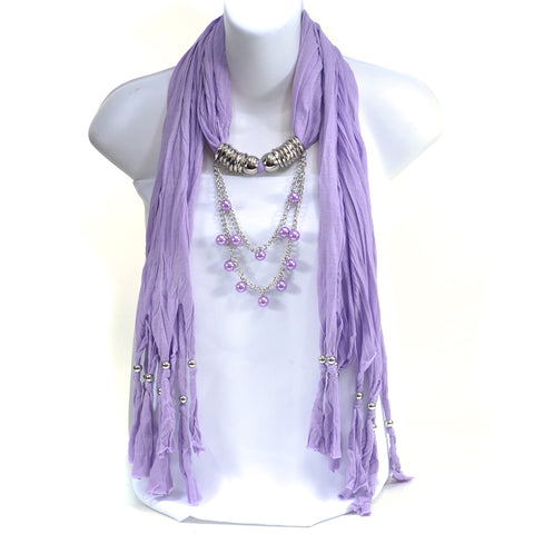 Pearl Necklace Silver Ring Beaded Fringe Pendant Scarf