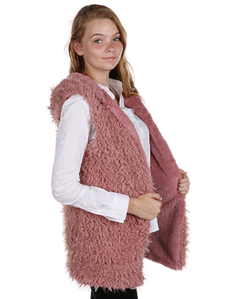 Pink Soft Fur Hooded Fashion Vest - CDF20007LPNK