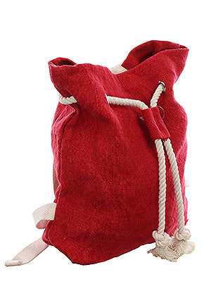 Red Linen Woven Drawstring Backpack Fashion Bag Accessory - HAB453004RED