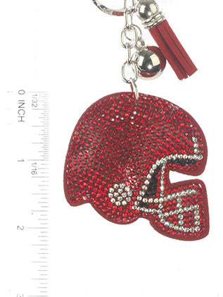 Red Stuffed Pillow Football Helmet Fashion Key Chain - MMK31370RDRED