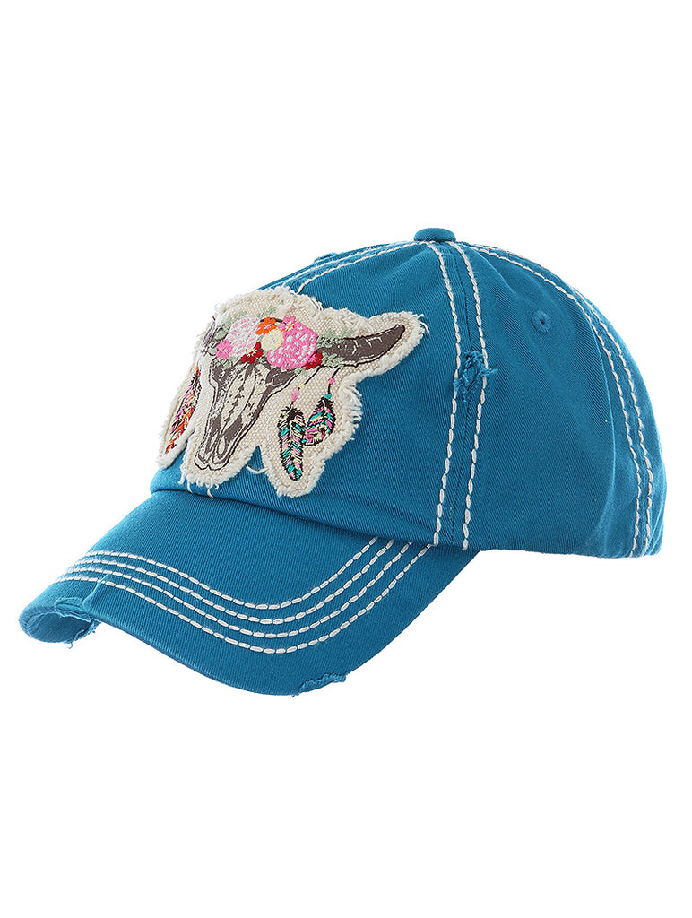 Teal Bull Skull Distressed And Faded Hat And Cap
