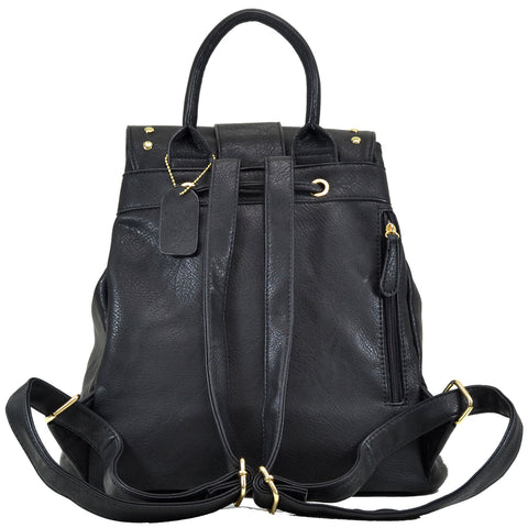 Two-Tone Studded Backpack with Drawstring and Two Front Zipped Pockets