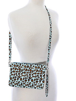 Aqua Blue Leopard Print Clutch Makeup Pouch Bag Accessory