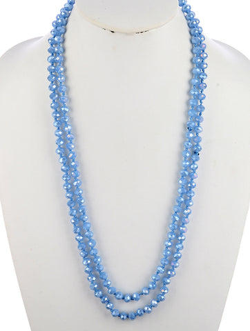 Blue Iridescent Bead Extra Long Bead Necklace
