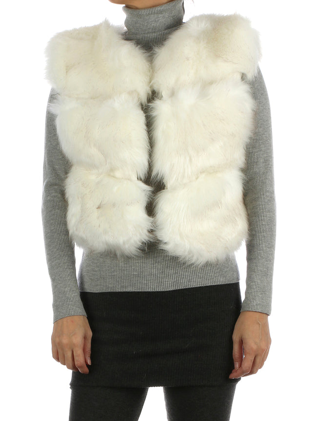 White Russian Style Ribbed Soft Fur Vest
