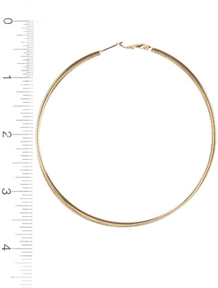 Gold Twisted Metal Hoop Earring Image#2