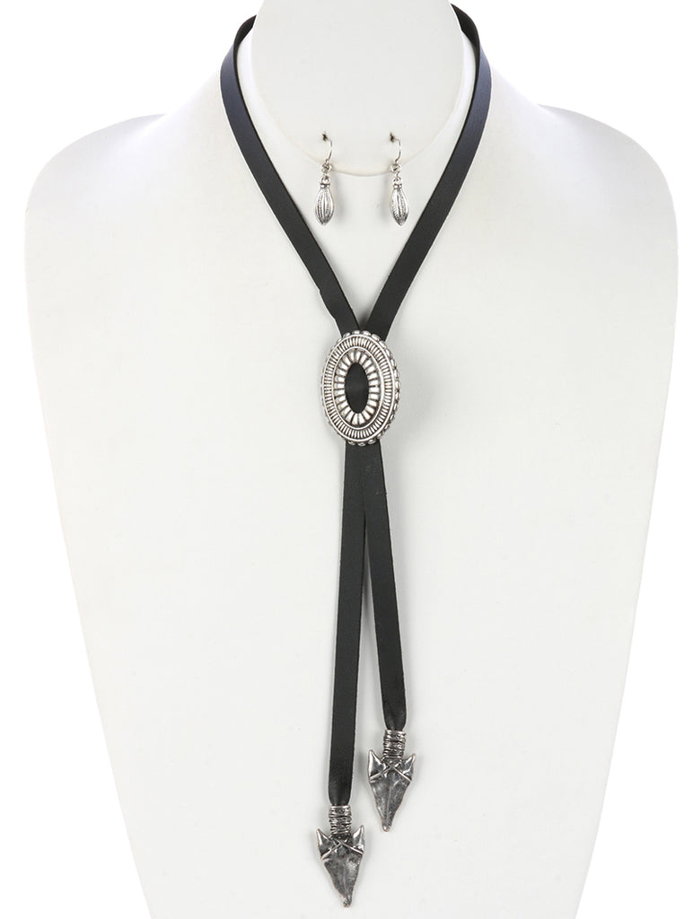 Black Hammered Metal Arrowhead Faux Leather Adjustable Necklace And Earring Set