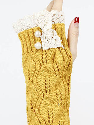 Yellow Laced Top Hand Wrist Warmer General Merchandise Image#2