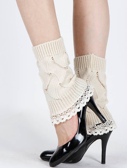 Beige Lace Top Knitted Leg Warmer