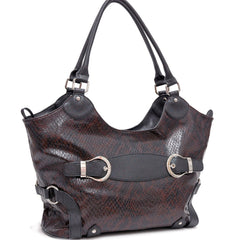 Two-Tone Faux Python Leather Handbag with Belt Front