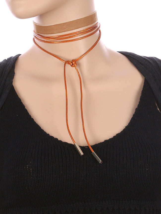 Natural 2 Pc Velvety Fabric Choker Necklace