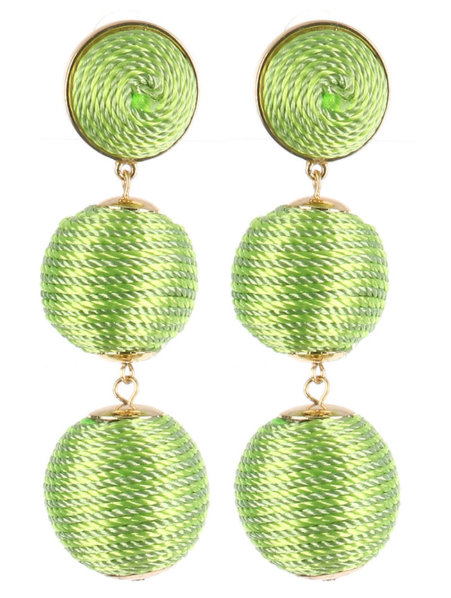 Green Color Cord Wrapped Chunky Ball Trio Earring