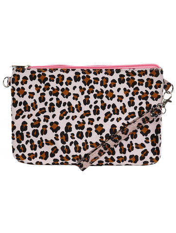 Pink Leopard Print Clutch Makeup Pouch Bag Accessory