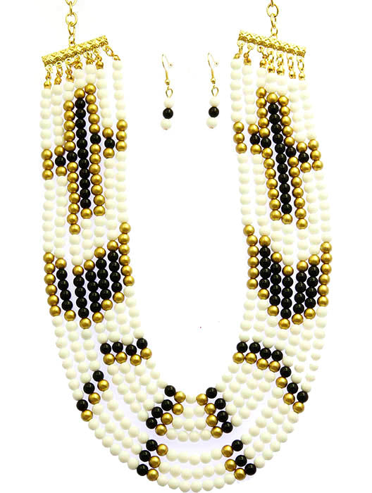 White Multi Strand Bib Necklace And Earring Set