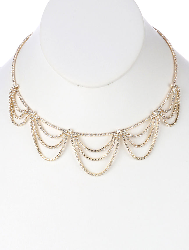 Clear Layered Rhinestone Drape Metal Choker Necklace
