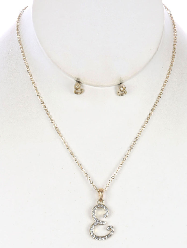 Clear Pave Crystal Stone Letter Metal Charm Necklace And Earring Set