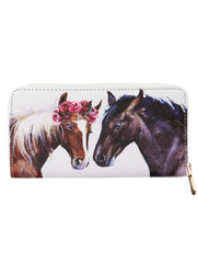 Mulit Color Horse Couple Print Vinyl Clutch Wallet Bag Accessory