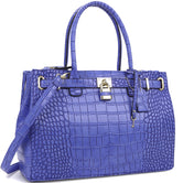 Faux Croco Embossed Leather Padlock Handbag