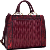 Dasein Textured Leather with Croco Metallic Trim Tote