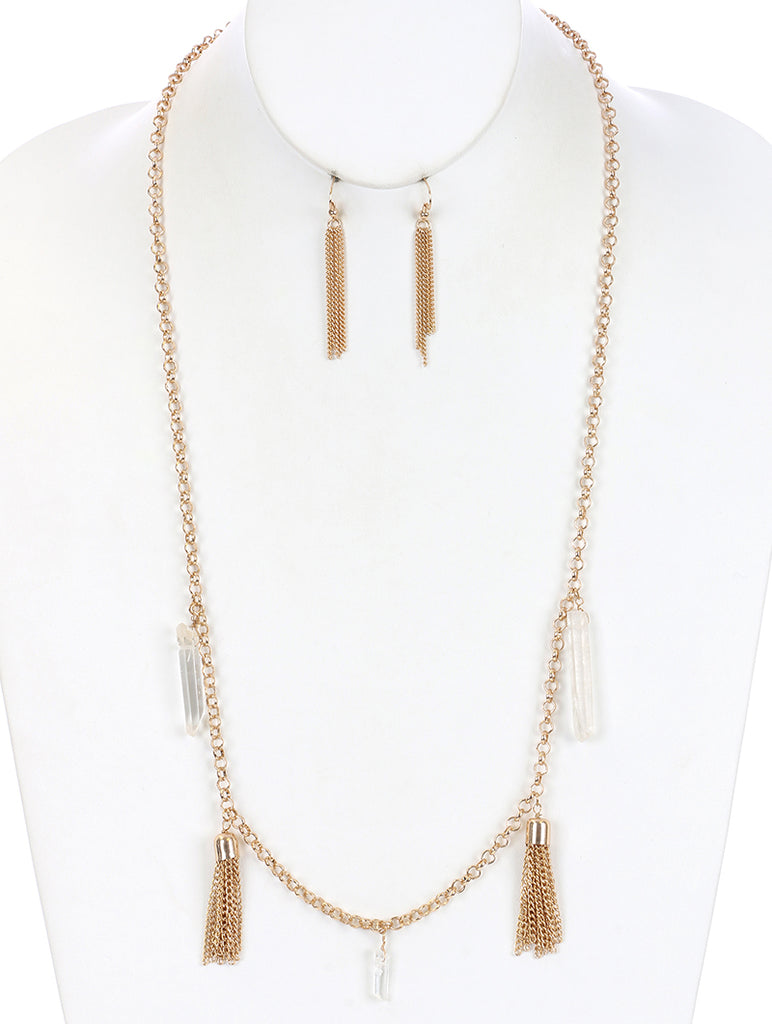 Clear Chain Tassel Natural Stone Charm Necklace And Earring Set