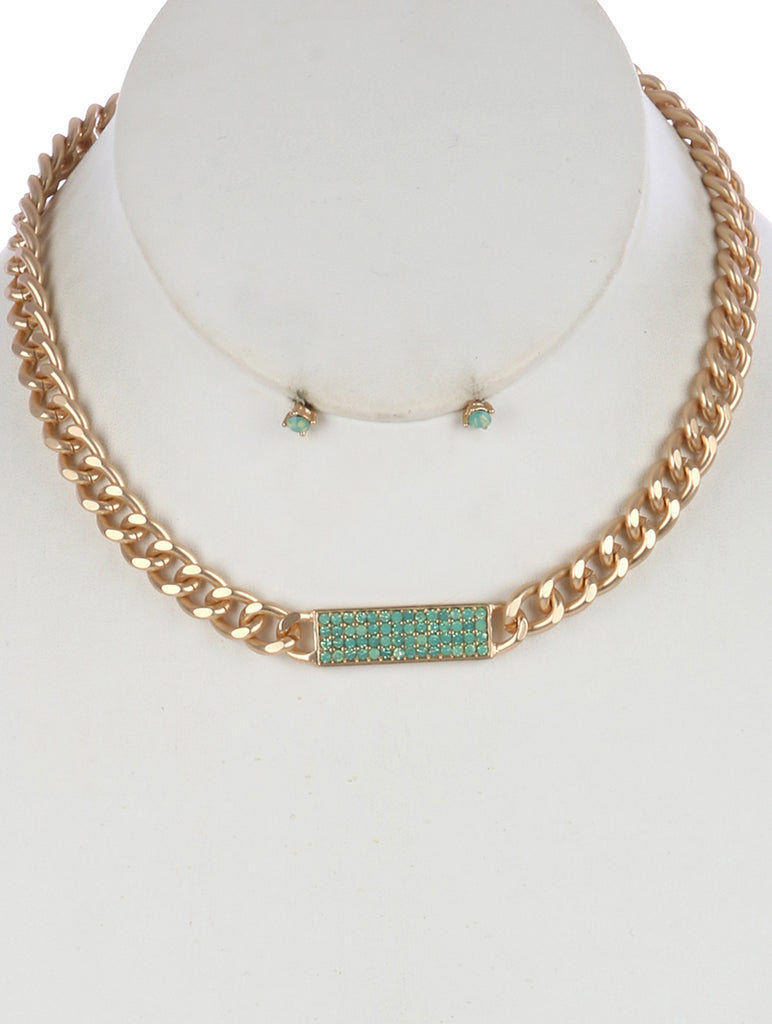 Mint Green Pave Crystal Stone Curb Chain Bib Necklace And Earring Set