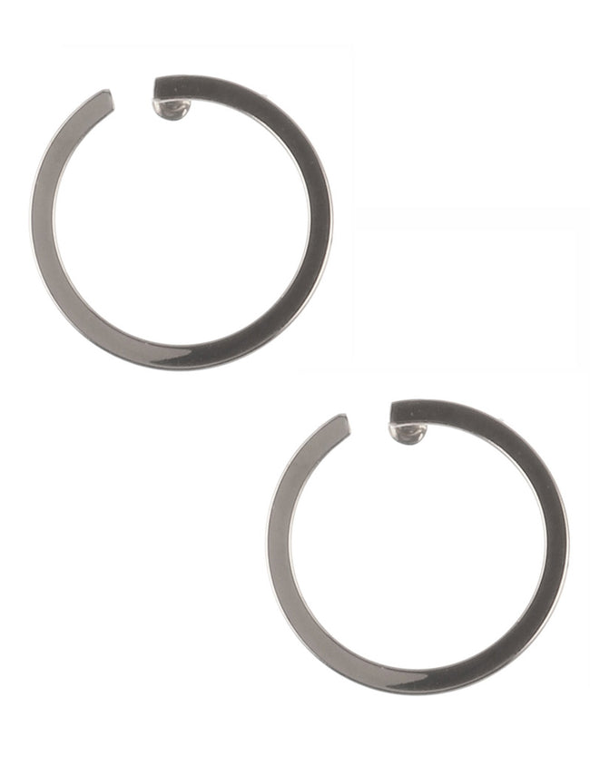 Sliver Open Ring Metal Fashion Earring - PTE131065RDSIV
