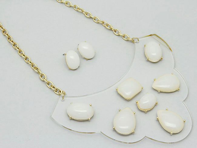 White Link Metal Necklace And Earring Set