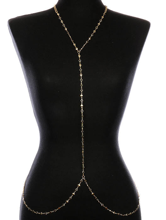 Gold Metal Bead Link Body Chain