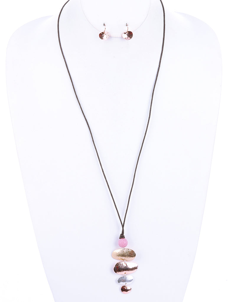 Pink Layered Concave Metal Pendant Necklace And Earring Set
