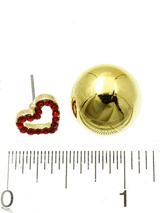 Red Heart Double Sided Earring Image#2