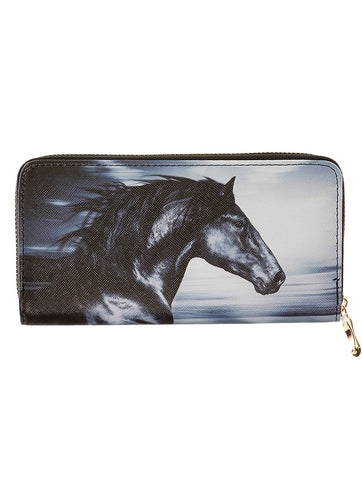 Mulit Color Running Horse Print Vinyl Clutch Wallet Bag Accessory