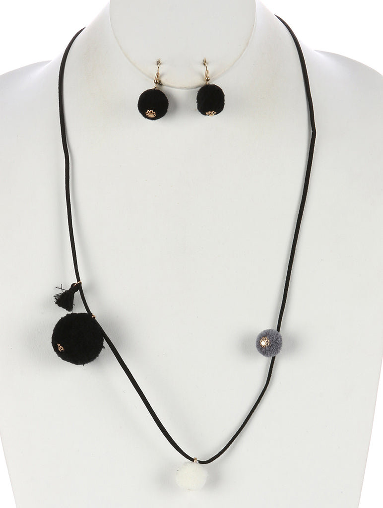 Black Pom Pom Charm Faux Suede Necklace And Earring Set