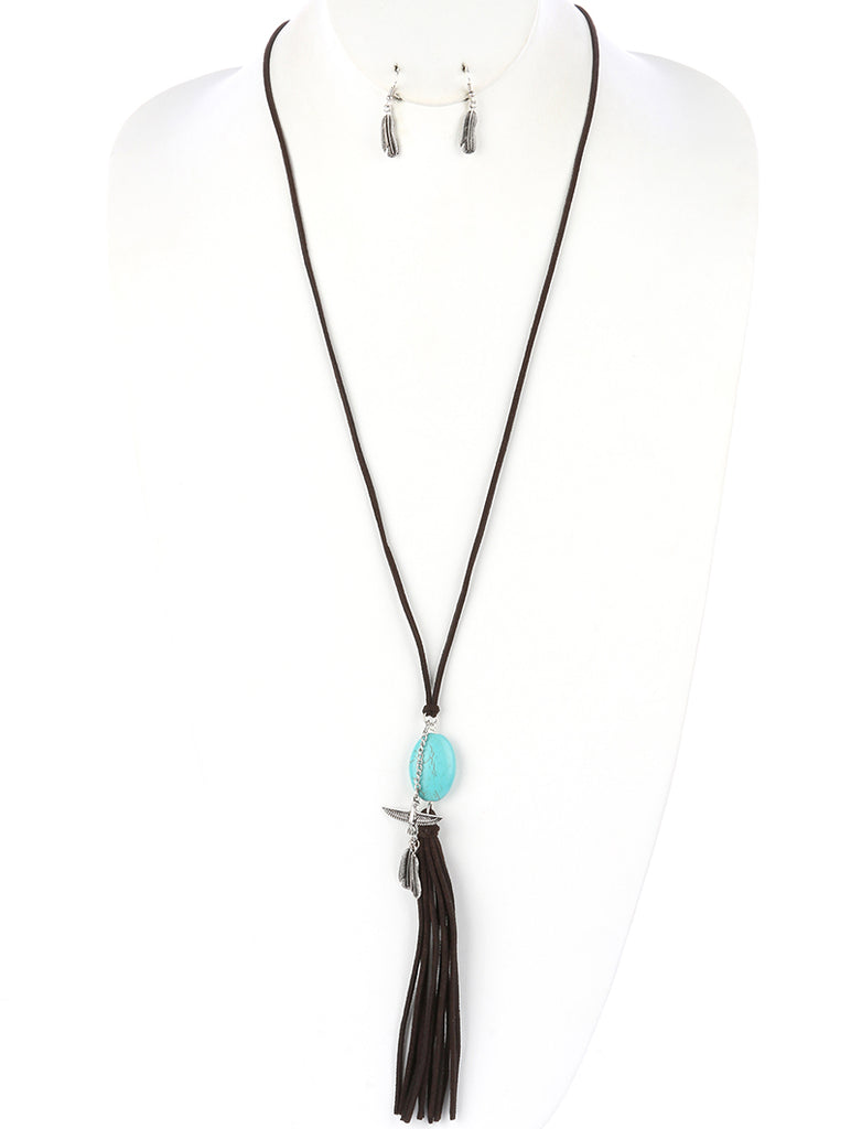 Brown Natural Stone Faux Suede Tassel Necklace And Earring Set