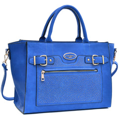 Dasein Belted Medium Tote Bag Decorated with Studs