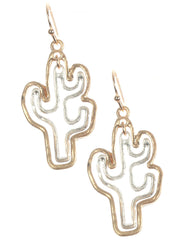 Gold Cutout Metal Double Cactus Earring