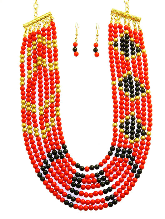 Red Multi Strand Bib Necklace And Earring Set