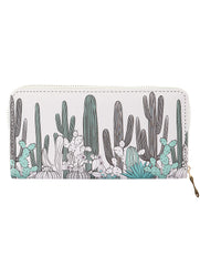 Mulit Color Catus Print Vinyl Clutch Wallet Bag Accessory