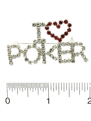 Clear I Heart Poker Paved Crystal Stone Pin And Brooch Image#2