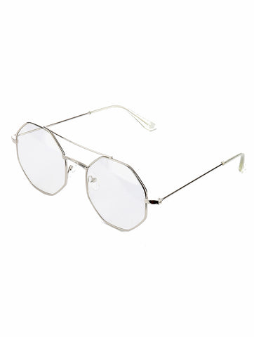 Sliver Octagon Clear Lens Sunglass