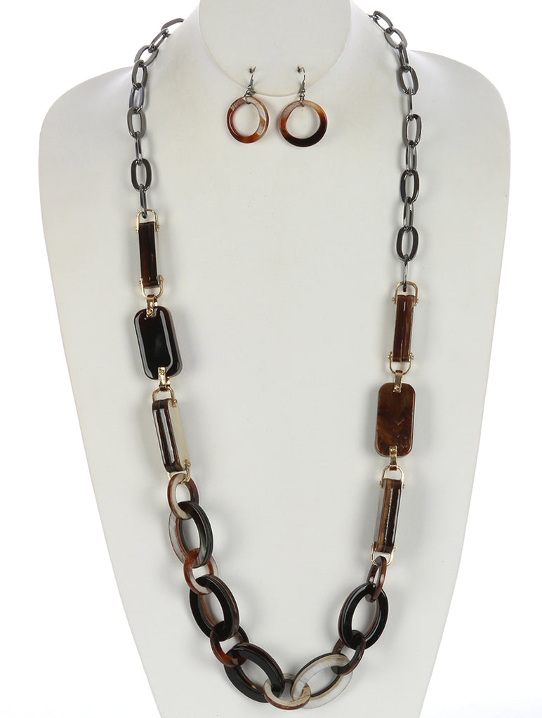 Brown Turtois Lucite Stone Chunky Chain Necklace And Earring Set