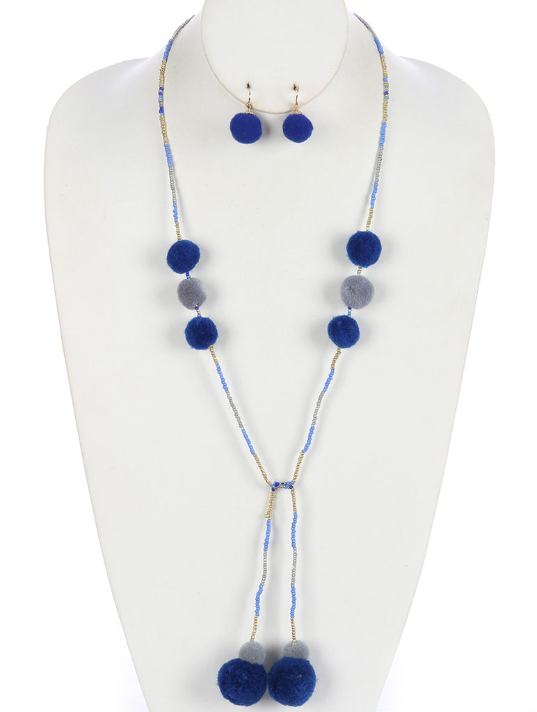 Blue Pompom Charm Seed Bead Wraparound Necklace And Earring Set