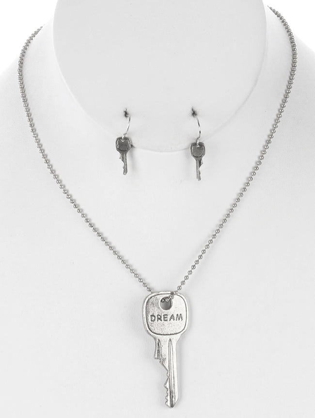 Sliver Aged Finish Metal Message Key Pendant Necklace And Earring Set