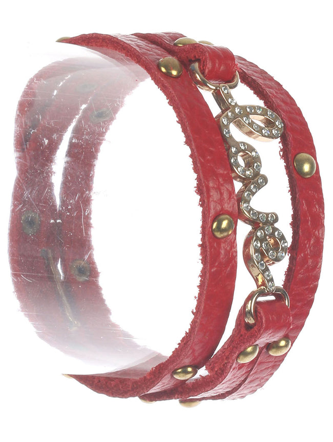 Red Metal Letters Faux Leather Wraparound Bracelet
