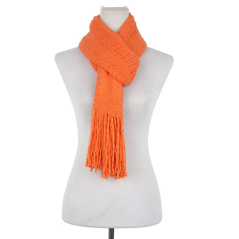 Pointelle Knitted Scarf with Fringe Ends