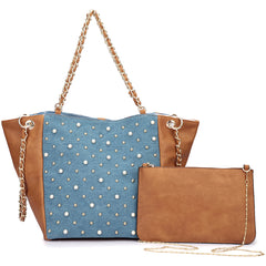 Denim Chain Link Tote Bag