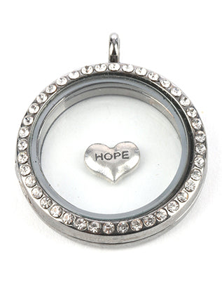 Sliver 5 Pc Hope Heart Floating Charm Image#2